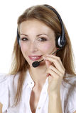 Business girl with a microphone Royalty Free Stock Photos