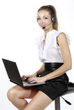 Business girl with a microphone Stock Photography