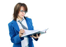 Young woman studying notebook Stock Photo