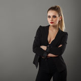 Business girl posing in the studio royalty free stock image