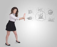 Business girl presenting hand drawn sketch graphs and charts Stock Photography