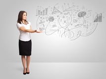 Business girl presenting hand drawn sketch graphs and charts. Concept Royalty Free Stock Photos