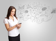 Business girl presenting hand drawn sketch graphs and charts. Concept Stock Photo