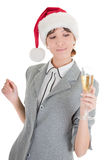 Business girl in Santa hat and with champagne Royalty Free Stock Photo