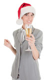 Business girl in Santa hat and with champagne Stock Images