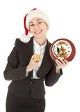 Business girl in Santa hat and with champagne Royalty Free Stock Photos