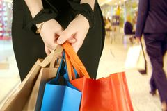 Business girl with shopping bags Royalty Free Stock Photos