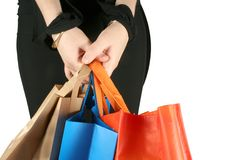 Business girl with shopping bags Royalty Free Stock Images