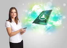 Business girl showing modern tablet technology concept Stock Photos