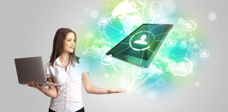 Business girl showing modern tablet technology concept Royalty Free Stock Photos