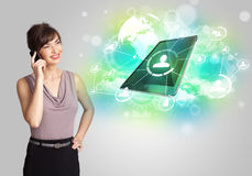 Business girl showing modern tablet technology concept Royalty Free Stock Image