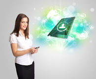 Business girl showing modern tablet technology concept Royalty Free Stock Images