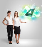 Business girl showing modern tablet technology concept Stock Photography