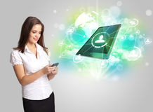 Business girl showing modern tablet technology concept Royalty Free Stock Photo