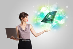 Business girl showing modern tablet technology concept Stock Image