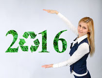 Business girl shows 2016 eco Royalty Free Stock Images