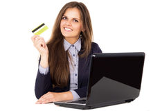 Business girl shows electronic map Royalty Free Stock Photos