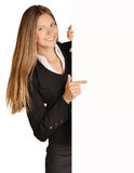 Business girl shows forefinger hand on the blank Royalty Free Stock Photos
