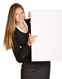 Business girl shows forefinger hand on the blank Royalty Free Stock Image