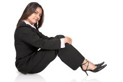 Business girl sitting on the floor Royalty Free Stock Image