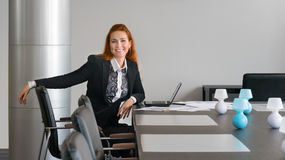 Business girl smiling in the negotiation Stock Images