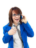 Business girl talking with mobile phone Stock Image