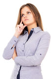 Business girl thinks of work Royalty Free Stock Photos