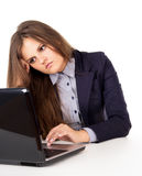 Business girl thinks workplace Stock Images