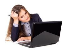 Business girl thinks workplace Stock Image