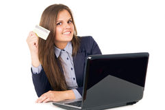 Business girl transfers money Royalty Free Stock Photos