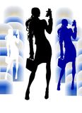Business Girl With VideoPhone Royalty Free Stock Photo