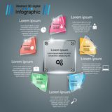 Glass 3D digital illustration Infographic. Business glass Infographics origami style Vector illustration royalty free illustration