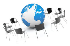 Business Global meeting. Chairs arranging round with Earth Globe Royalty Free Stock Image