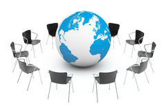 Business Global meeting. Chairs arranging round with Earth Globe Stock Photo