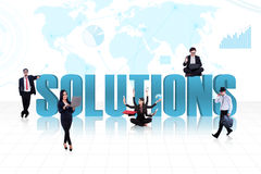 Business global solutions in blue Stock Image