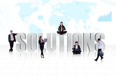 Business global solutions people. With world map background Stock Photo