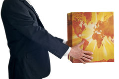 Business Global Strategy Box Map. A business man in a suit holding a box with a world map isolated on white. Map image is available, ID:12015959 Royalty Free Stock Photography