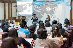 Business globalization connection technology concept : asia people listen in seminar stock image