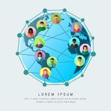 Business globalization and worldwide networking concept. With connected world. Planet Earth and ethnically diverse people in flat design vector illustration