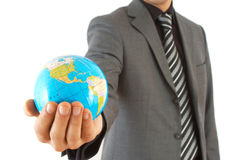 Business on the globe stock image