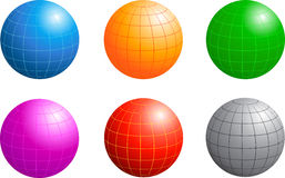 Business Globe. Six Different Colored Business Globes With Longitude And Latitude Lines Isolated On White Royalty Free Stock Images