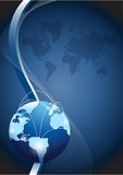Business globe network over a wave illustration Royalty Free Stock Photo