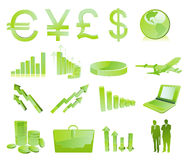 Business glossy icons Stock Photos