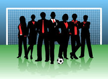 Business goal. Editable  illustration of a business team on a soccer pitch Stock Photos