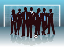 Business goal. Editable  illustration of a business team on a soccer pitch Stock Photo