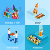 Business Goal Achievement Isometric Concept Royalty Free Stock Images