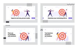 Free Business Goal Achievement Website Landing Page Set, Business People Shoot To Aim, Challenge, Task Solution Stock Photo - 164495220