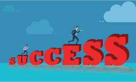 Business man running and climbing the ladder of success with blue sky background. Royalty Free Stock Image