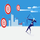 Business goal concept vector illustration. Vector illustration of bowman shooting an arrow. Businessman sighting the bow at center of target. Business goal Stock Photos