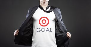 Business goal success, young successful businessman Stock Photo